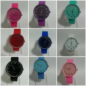 Reloj Pulsera Silicona Juvenil X 10 Colores Varios X Mayor