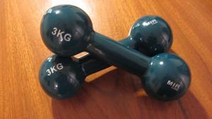 2 Mancuernas Fundicion Recubiertas De Goma 3 Kg Mir Fitness