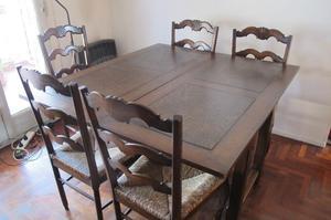 Juego de comedor mesa provenzal y 6 sillas posot class for Sillas comedor antiguas