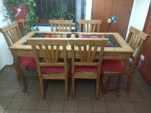 Mesa de madera con vidrio 1.60 x 0.80 y 6 sillas