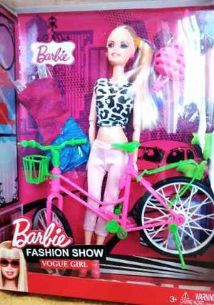 Muñeca Barbie Con Bicicleta + Casco Rollers Y Accesorios