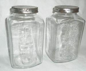 Lote De 2 Antiguos Frascos De Coca De Vidrio Con Tapa