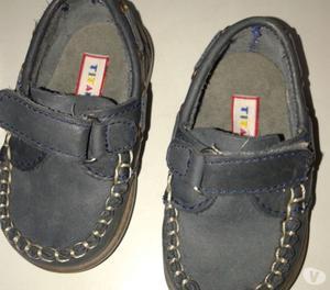 Zapato Nautico Mocasin 18 Cuero Azul Nene Use 1 Vez Perfecto