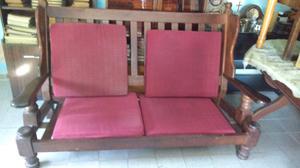 Antiguo sillón de 3 cuerpos en algarrobo