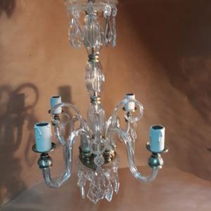 Araña Antigua Cristal, Vidrio Y Bronce Art Decó