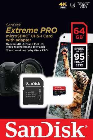 Memoria Extreme Pro Micro Sd Sandisk 64gb Con Adaptador