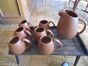 Jarra de cerámica con 6 choperas