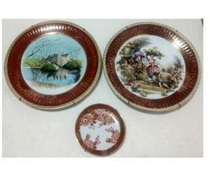 Lote de 3 platos de porcelana TSUJI con oro