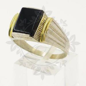 Anillo Sello Hombre Plata 925 Y Oro Con Piedra Cubic Negra