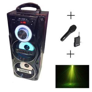 Combo Fiesta Parlante Bluetooth Usb Fm + Mic Inalamb+ Laser