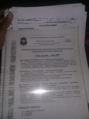 Cuadernillo para el ingreso a la policia