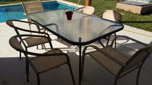 Mesa de Vidrio y Hierro con 6 sillas jardín