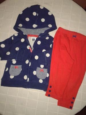 Conjunto 9m Campera Carter´s Lunares+calza Roja Use 1 Vez