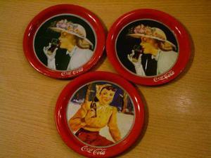 Lote De Tres Posa Vasos De Coca Cola En Metal
