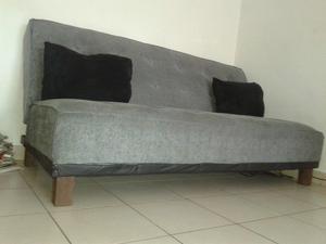 Sillon modelo fucional tapizado en chenille gris posot class for Sillon cama usado