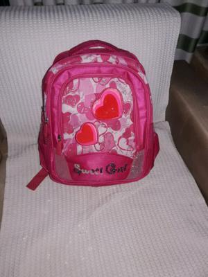Mochila rosada para niñas con 5 bolsillos