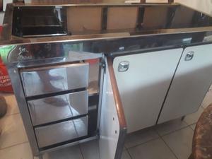 vendo muebles de cocina de acero inoxidable con mesada y