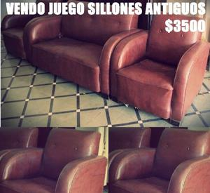 Living. Juego Sillones Antiguos De Cuero
