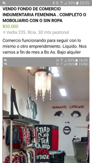 VENDO FONDO DE COMERCIO O MOBILIARIO INDUMENTARIA FEMENINA
