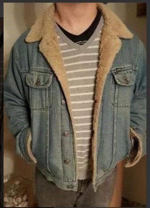 Campera de jean con corderito talle M