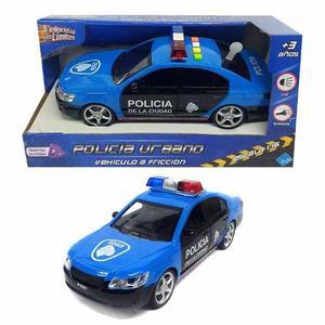 Auto De Policia A Friccion 23 Cm Con Luz Y Sonidos
