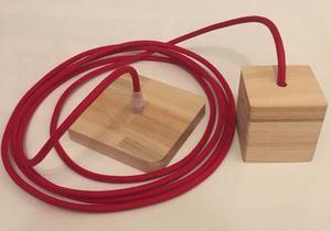 Portalámparas Con Capuchon De Madera, Cable Textil Y Floron