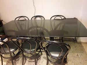 mesa de vidrio fume 1.80
