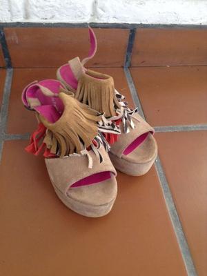 Sandalias n°36 gamuza/cuero sin uso