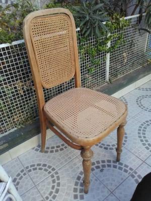 Silla esterilla asiento y respaldo. Madera natural