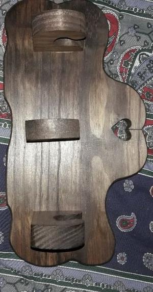perchero 3 perchas de madera