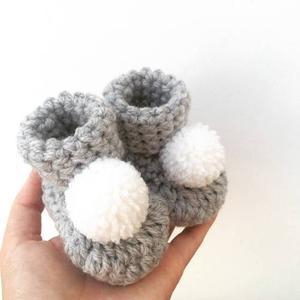 Escarpines Botitas Con Pompones Tejidas Al Crochet Para Bebe
