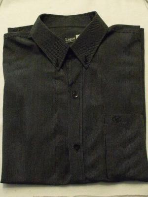 Camisa Hombre Negra con Rayas Grises - Manga Corta
