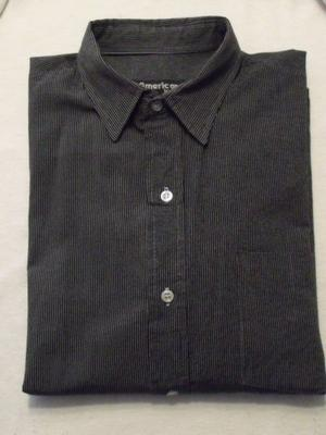 Camisa Hombre Negra con Rayas Grises - Manga Larga