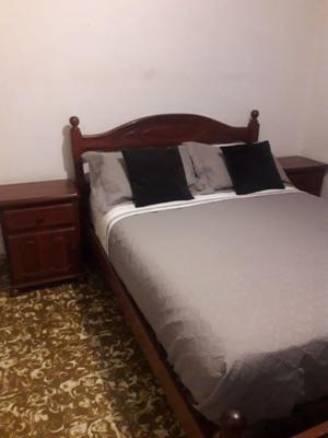 Juego de dormitorio completo 2 plazas de algarrobo