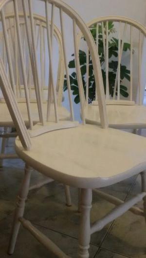 4 sillas windsor laqueadas en blanco antiguas (opcional con
