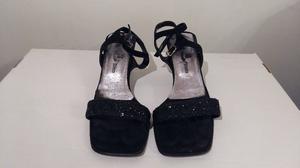 Sandalias de Fiesta, color negro con brillos, Talle 36, de