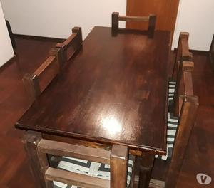 Vendo mesa de pino y sillas de eucalipto