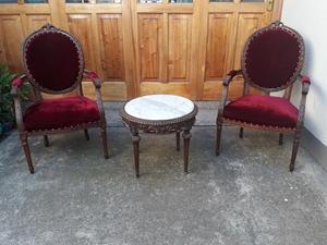 juego de sillones antiguos de estilo luis xv y mesita ratona