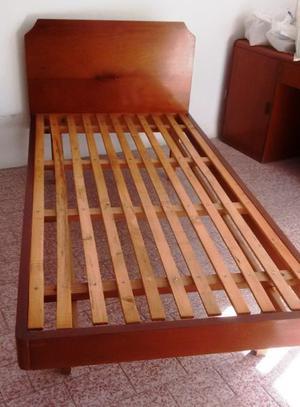 Cama de 1 plaza y media, 1 metro de ancho, madera