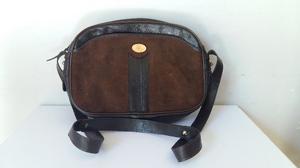 Cartera bandolera de cuero y gamuza, marrón, NUEVA, sin uso
