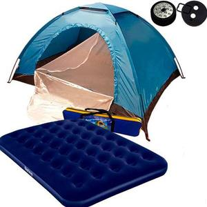 Carpa Camping 4 Personas + Colchon Inflable + Luz De Regalo