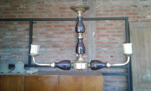 Araña de bronce combinada tres luces