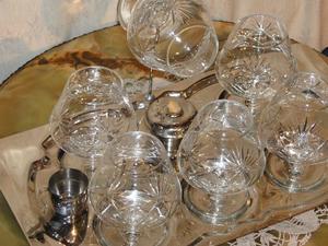 Antiguo juego de copas para cogñac o brandy