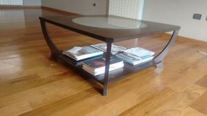 Mesa Ratona de madera y vidrio esmerilado