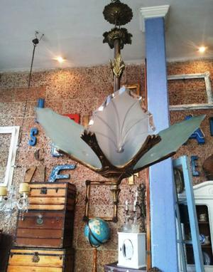 Araña Antigua Con Cadena Y Floron
