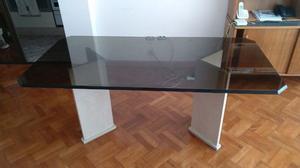 Mesa de vidrio templado bicelado para 6 personas