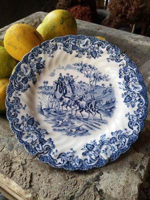 Plato Platos Ingleses Antiguos Azul Verde Y Marrón 6