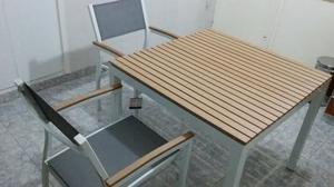 Vendo Juego Mesa y 4 sillas (Aluminio y Madera)