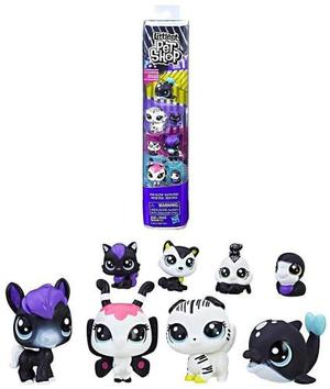 Littlest Pet Shop Black & White Friends 8 Mascotas Tikitavi