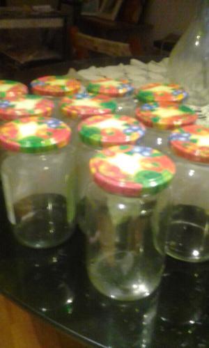 Lote de FRASCOS (10)de mermelada con tapas decoradas